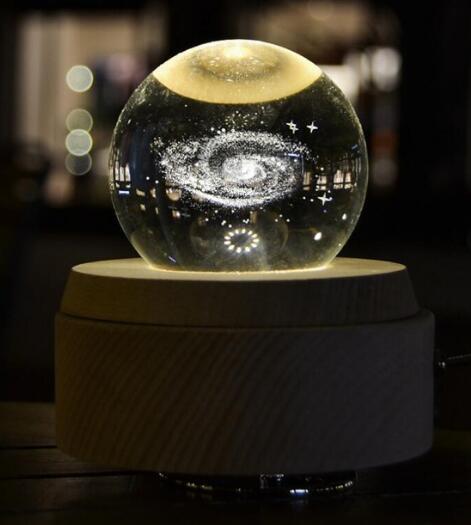+Starry crystal ball light wood music box