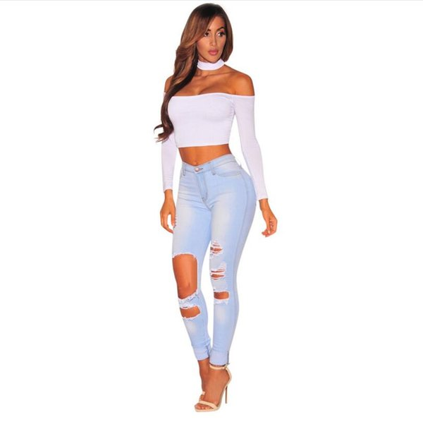 Slim Hole Ripped Jeans for Women High Waist Denim Plus Size fashion Pants light Blue 2018 Casual Stretchy ladies Pencil Trousers