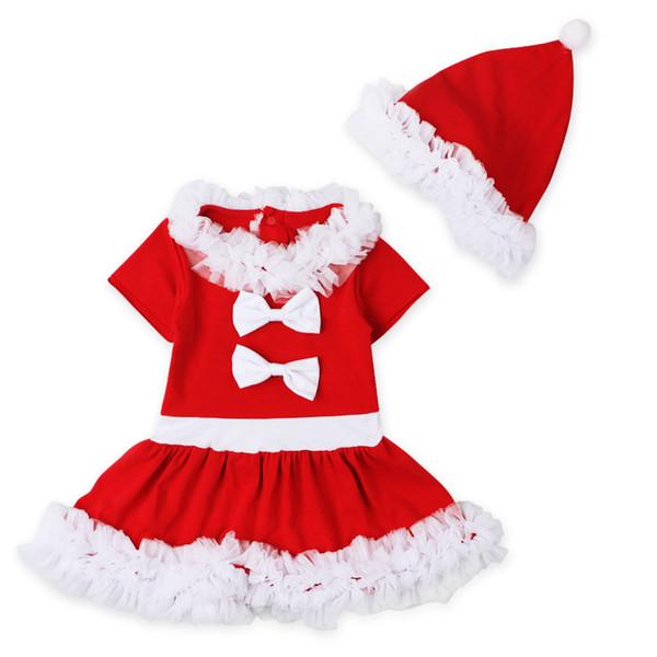 Bebê Meninas vestido de renda de Natal saia de manga curta + chapéu 2 pc conjuntos crianças arco vestido de renda crianças roupas de Festa de desempenho roupas