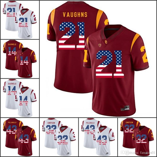 National flag NCAA USC Trojans College Football Jerseys 43 Troy Polamalu 14 Sam Darnold 32 O.J Simpson 55 Junior Seau Jackson Jones II Allen