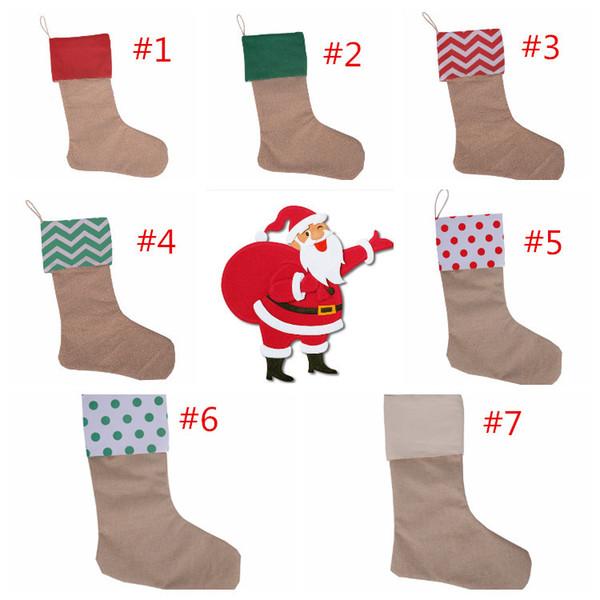 Christmas Stocking Gift Bag Stocking 30x45cm Christmas Tree Decoration Socks Xmas Stockings Linen 7 colors Fast shipping