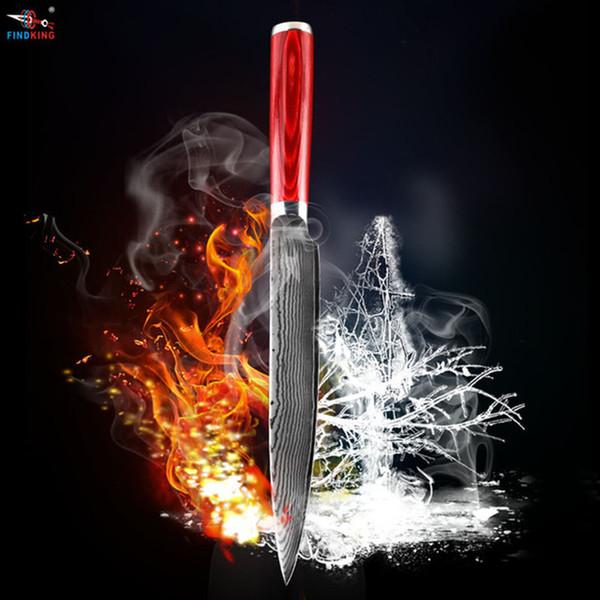 D089 FINDKING madera nueva hoja de acero de damasco de color de 8 pulgadas manejar Damasco fileteado cuchillo de 67 capas de Damasco cuchillo de la cuchilla