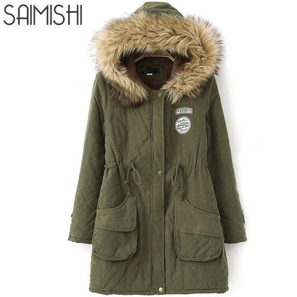 Saimishi Winter Warm Coat Women Long Parkas Fashion Faux Fur Hooded Womens Overcoat Casual Cotton Padded Jacket Mutil Colors