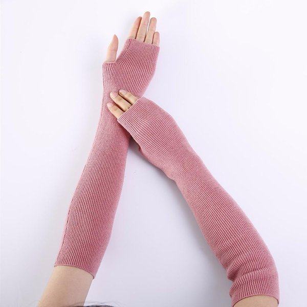 Ubetoku 2017autumn women's warm soft cashmere knitting arm warmers solid colors mittens gloves(st9)