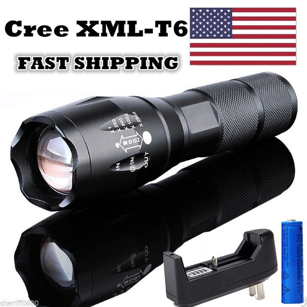 5000LM Cree XML Flashlight T6 Tactical LED Torch Rechargeable Camping T6 Torch Zoomable + 18650 Battery + Charger