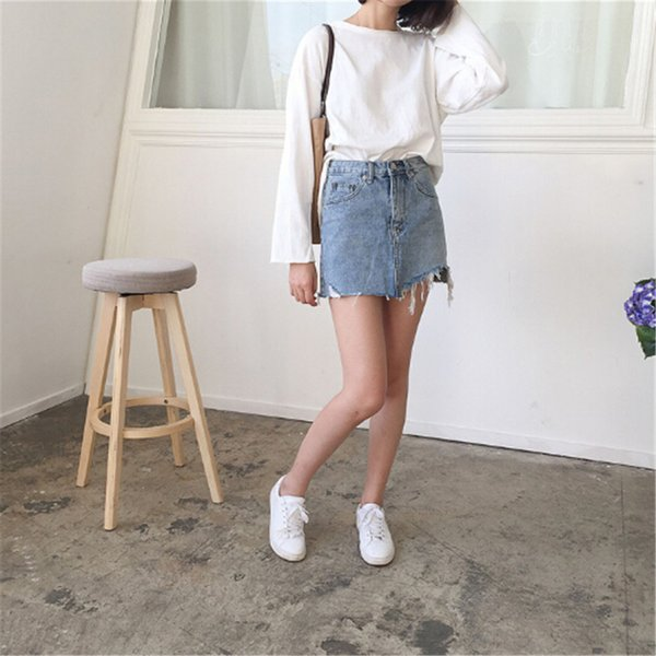 Summer Jeans Skirt Women High Waist Jupe Irregular Edges Denim Skirts Female Mini Saia Washed Faldas Casual Pencil Skirt
