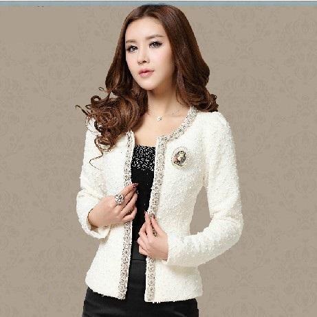 2015 New Women Autumn-Winter coat short design Elegant Beaded Diamond slim Long sleeve Plus size Small Outerwear jacket 661B