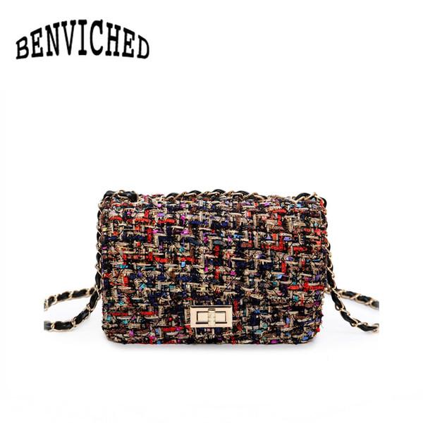 BENVICHED 2017 новый женский сумка дикий фургон небольшой квадратный пакет мода замок цепи сумка плеча Messenger R568