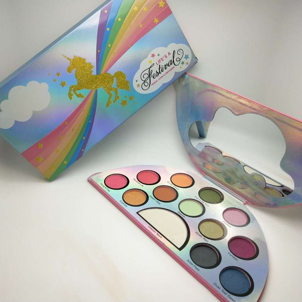 Top Quality Life's A Festival Eyeshadow Palette Rainbow Peace Love Eye Shadow 13 color Palett