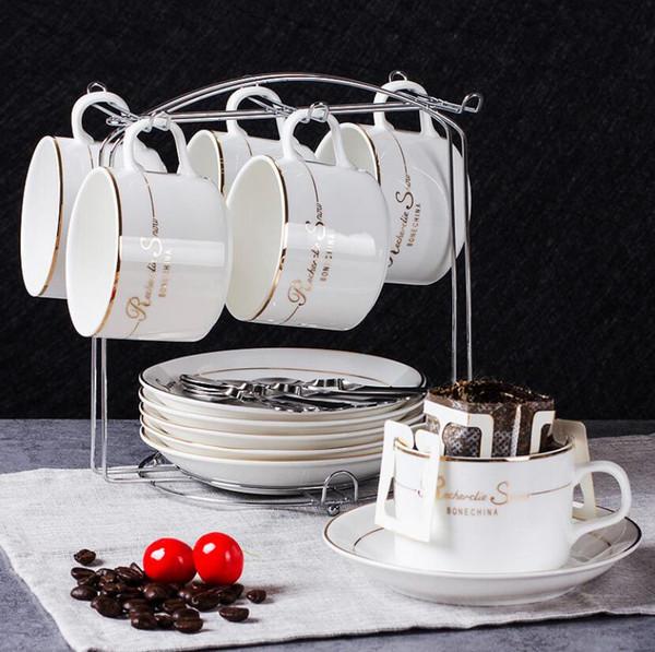 Nuove tazze di caffè in ceramica europea piattino set di alta qualità 19piecs Set tazza di caffè con portasapone Eleganti tazze in porcellana nuovo osso
