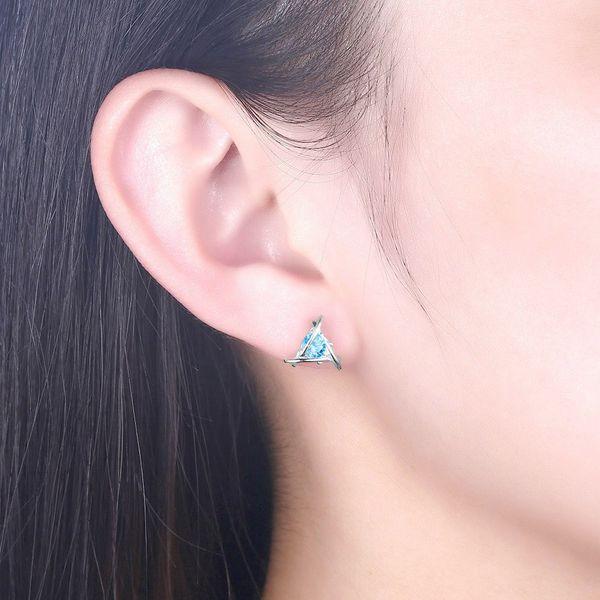 2018 Catalog Available Solid S925 Sterling Silver Zircon Minimalist Studs Post Earrings Jewelry Women 1.5x1cm 1.3g