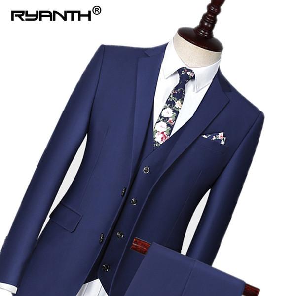 Ryanth Men Suit 2018 Wedding Suits For Men Smart Casual 3 Pieces Slim Fit Suit Mens Royal Blue Tuxedo Jacket RXF390005