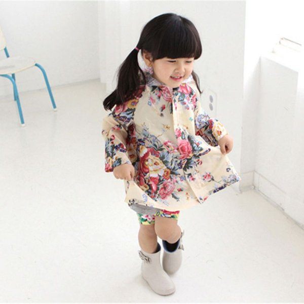 best selling Children Floral Printed Hooded Raincoat Kids School Rainy Day Clothes Plus Size Rainwear