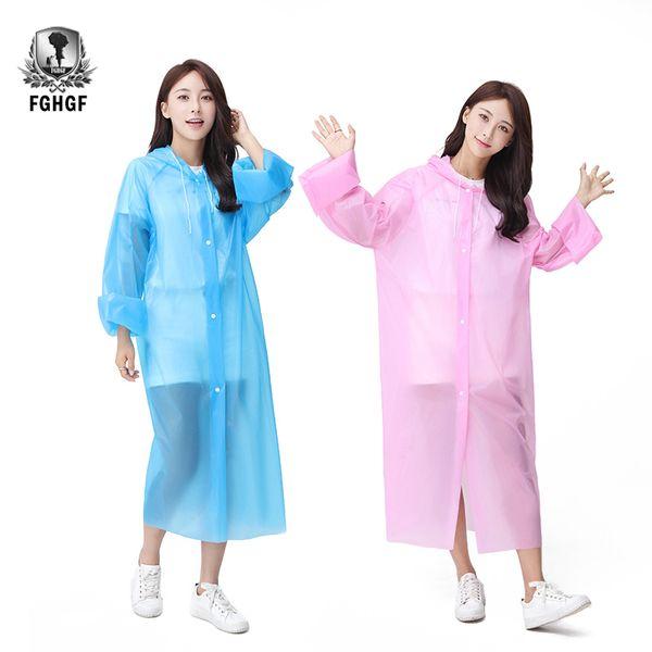 top popular FGHGF Not One Time Fashion Thickened Raincoat Waterproof Rain Coat The Man Women Clear Transparent Camping Waterproof Rainwear 2019