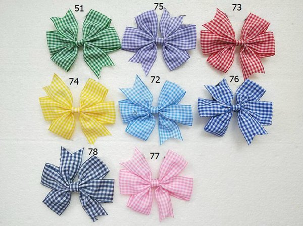 10pcs/lot Green Red Blue Yellow Gingham Check School Hair Bow Clips Back To School Dress