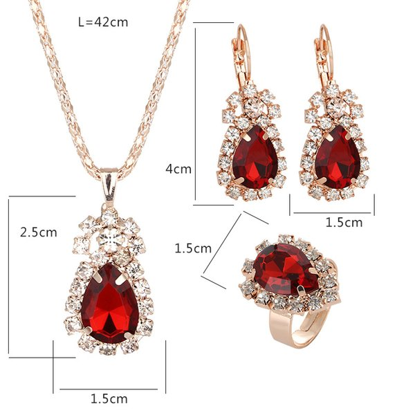 Women gold plated crystal Jewelry Sets For Brides Stud Earrings Ring Necklace Set CZ Diamond necklace Set Women's Day