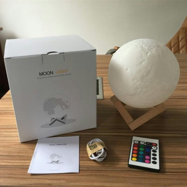 YIYANG New USB 3D LED Moon Light 16 Colors Rechargeable Night Light with Remote Controller Valentine Gift Multicolor Full Moon