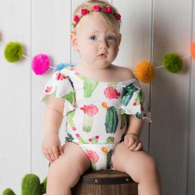 2018 Infant Toddlers Girls Clothing Baby Girl Green cactus Romper Fly Sleeve Bodysuit Playsuit For 0-18months Baby