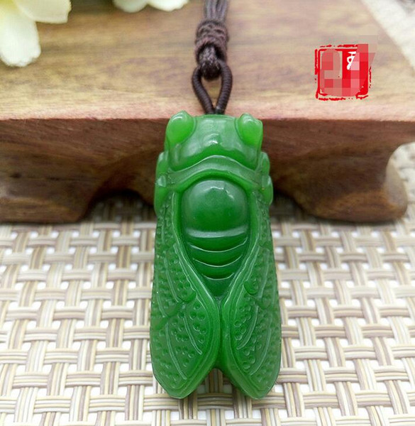 Xin Hang Xinjiang Hetian Jade Pendant Pendant Stunningly Knows Pendant Outside the Masked Spinach Green Pelican