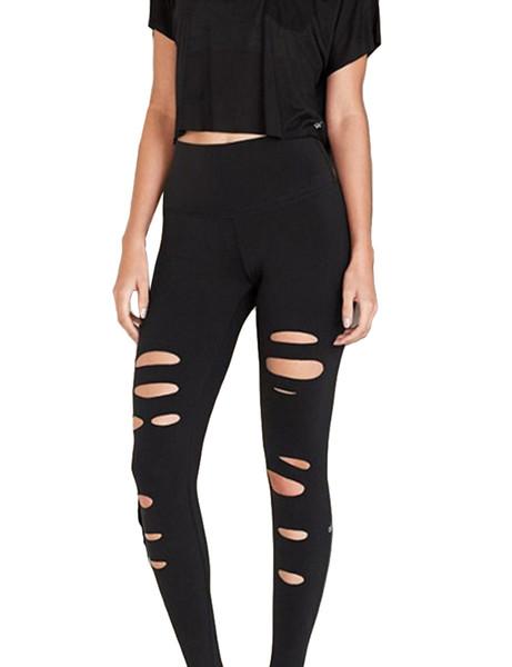 2018 Nueva Moda Sexy Otoño Invierno Mujeres Leggings Ripped Frayed Holes Solid Fitness Casual Bodycon Pantalones Negro