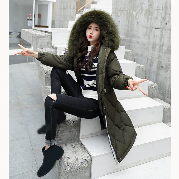 Women Winter Coats Long Cotton Padded Coat Solid Casual Fur Collar Hooded Jackets Ladies Warm Female Overcoat Women Coat