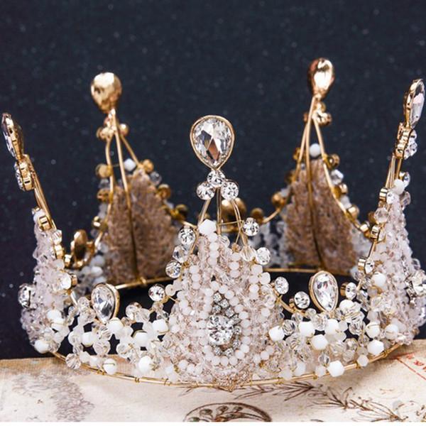 Bridal jewelry 2018 European vintage handmade crystal crown bride wedding tiara crown princess diamond crown