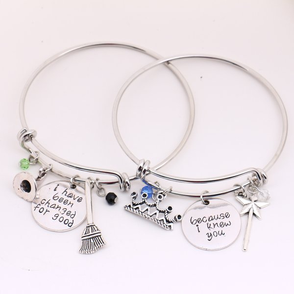 whole saleWicked the Musical Bangle Set,Because I knew you I have been Change for Good Couple Jewelry Lovers Halloween,Christmas Gifts