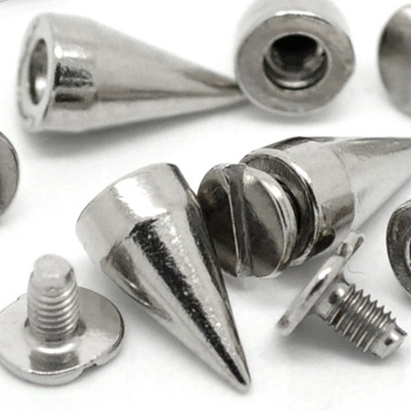 14MM 100 Sets Silver Color Bullet Cone Spike and Stud Metal Screw Back for Punk DIY Leather-craft