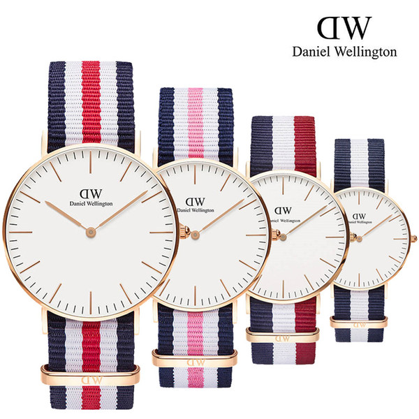 2019 famous brand Daniel women mens Wellington's WATCHes fashion nylon strap style 40mm rose gold mens watches marcas with gift box relojes