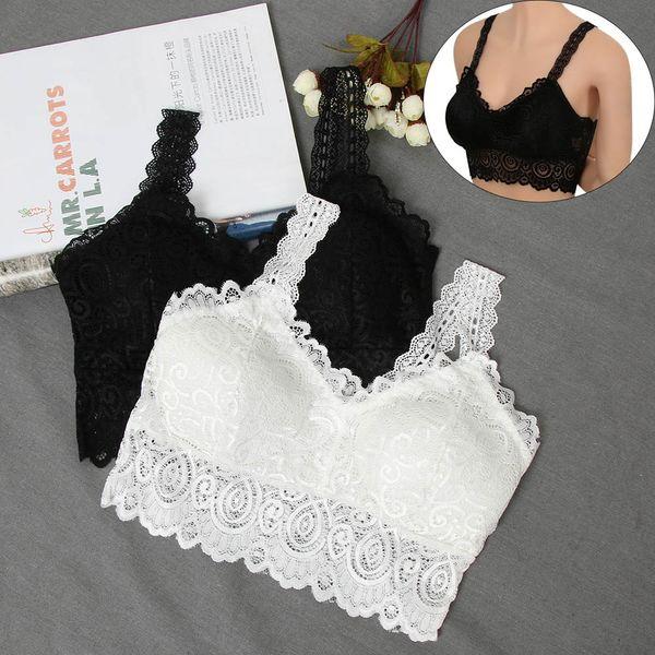 1PCS Sexy Cotton Floral Lingerie Women Lace Push Up V Neck Padded Tank Crop Tops Crochet Vest Bralette Bandeau Bustier Underwear