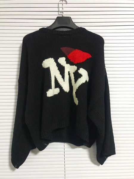 best selling 2018 new Raf simons Oversized Sweater hoodies Men Women Unisexual Pocket Knit Shirt Fashion Black Long Sleeve Free Shipping 888
