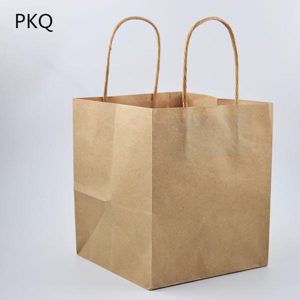 Compre 15x15x17 Cm Bolsa De Papel Kraft Para Llevar Bolsa De Papel De Embalaje Para Hornear Protección Del Medio Ambiente Con Mango Cuadrado Kraft A
