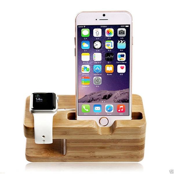 Base para cargador de teléfono celular con reloj Soporte de bambú Escritorio Soporte de carga de madera para Apple Watch 38 42 mm y todos los teléfonos iPhone DHL gratis