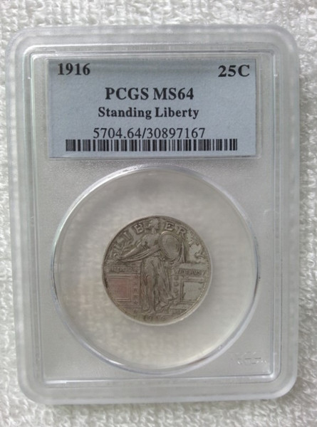 Wholesale Hot Selling PCGS 1916 Genuine /MS64 Standing Liberty Quarter Dollars Coin /FREE SHIPPING