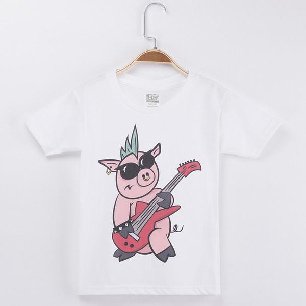 2018 Kids T-shirt For Children Clothing Pig Singer Rock Star Cartoon 100% Cotton Boys Short T Shirts Girls Clothes Tops Tee Free Shipping