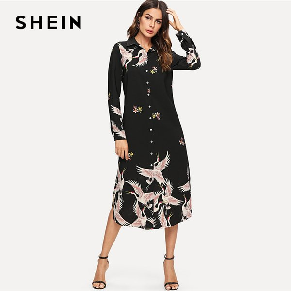 SHEIN Multicolor Minimalist Classic Streetwear Red-crowned Crane Self Belted Slit Hem Shirt Dress Autumn Women Casual Dresses