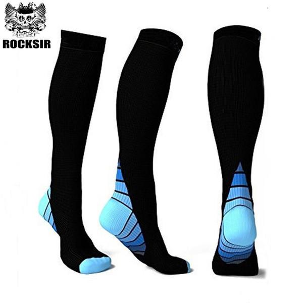 3 paires / lot Chaussettes Compression Professionnelles Circulation de Pression Qualité Genou Haute Chaussettes Slim Nylon Hommes Casual Meias Masculinas