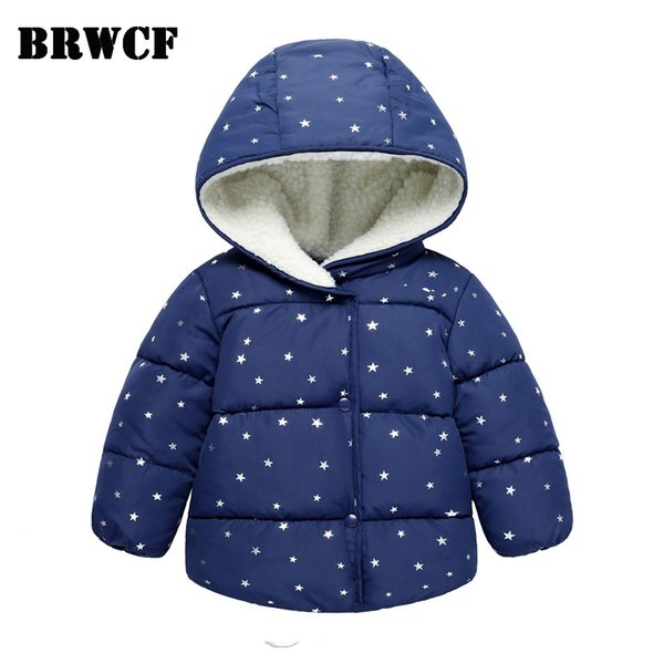 BRWCF Kid Coat For Boys Girls Autumn&Winter Star Print Outerwear & Coats Keep warm Down & Parkas For Children Christmas Costume