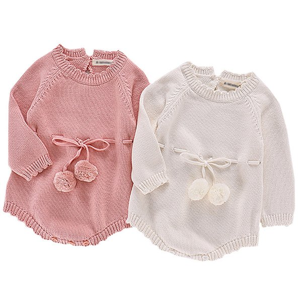 eafb8d596003 Autumn Baby Knitted Rompers Sweater Baby Girl Long-sleeve Knitted Overalls  Infant Girl Princess Cotton Clothes Romper