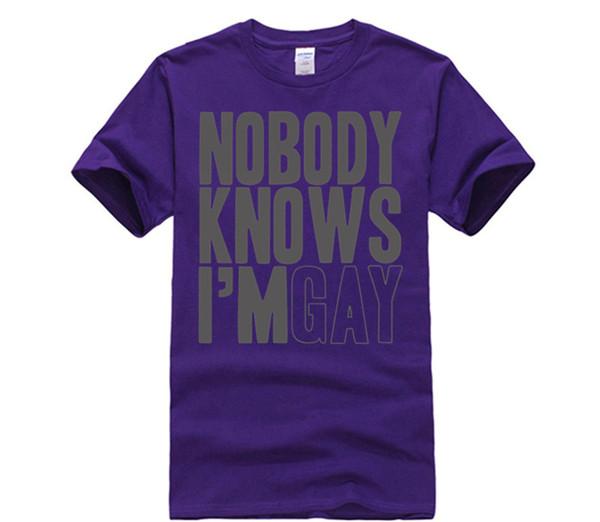womens Nobody Knows Im Gay Funny Gay Pride LGBT Community T Shirt (Grey) Casual White Top T-Shirt Summer Novelty Cartoon