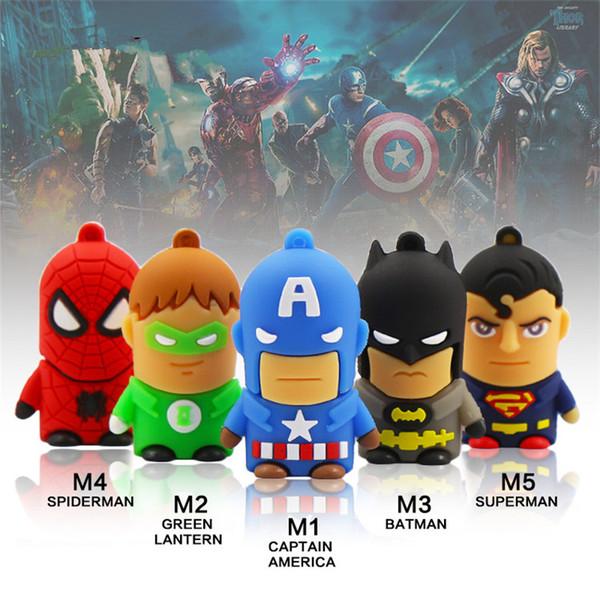 Cartoon USB Flash Pen Drives Superman Spiderman Captain America Batman Iron Man Cheap USB Flash Memory Stick Drive 4GB 8GB 16GB 32GB