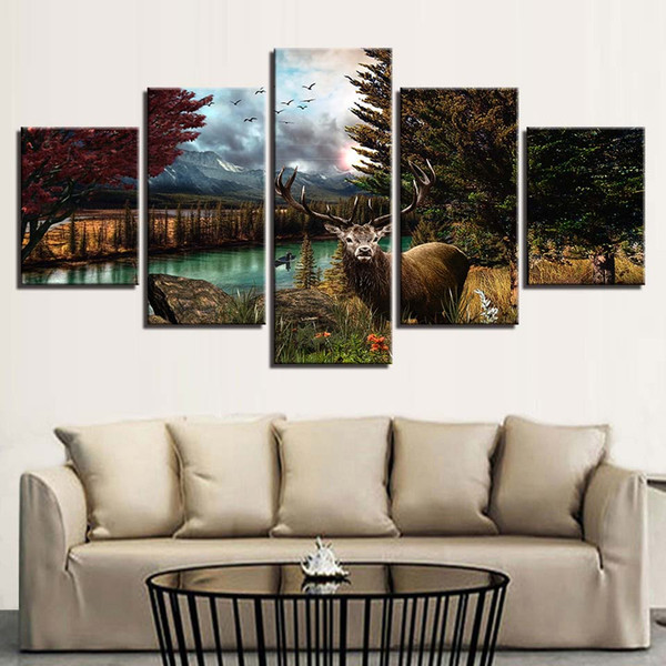 Modular Wall Art Canvas HD Prints Pictures 5 Pieces Animals Deer And Bird Scenery Poster Painting Frame Modern Decor Living Room
