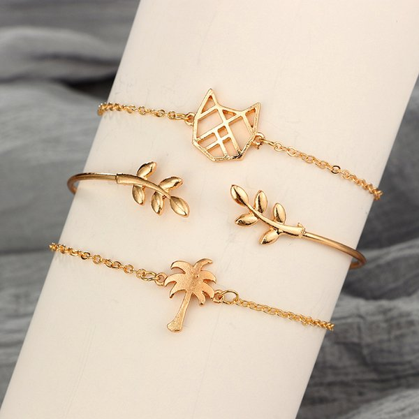 3 in 1 Fashion Jewelry Metal Bracelets Gold Plated Plant Kitten Olive Tree Coconut Tree Bracelet sets For Gift Wedding Banquet