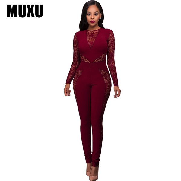MUXU sexy women black lace jumpsuit bodies ladies long body feminino combishort europe and the united states jumpsuits rompers