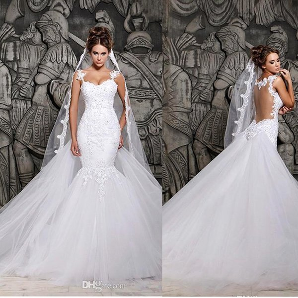 top popular Berta Lace Wedding Dresses Sexy Illusion Back with Detachable Train Ivory Tulle Mermaid Spring Berta Bridal Gowns Custom Under $100 2019