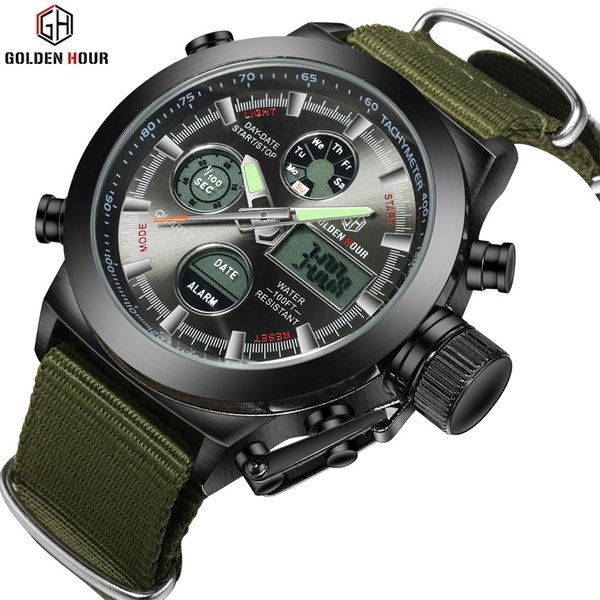 Wholesale-Fashion Army Cool Men  Watch Canvas Strap Hours Steel Case 30ATM Waterproof Stop Watches Sports Casual LED Digital Clock