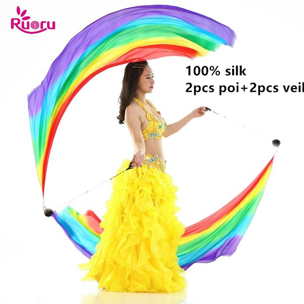 Ruoru 100% Silk 2pcs Silk Veil+2Pcs Poi Chain Ball Women Belly Dance Veil Poi Streamer Stage Props Rainbow Color Gradient