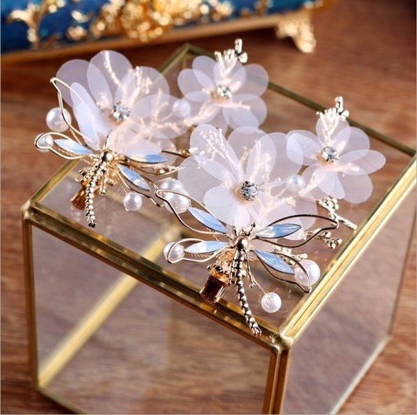 Fashion Vintage Bridal Hair Accessories Baroque Style A Pair of Dragonfly Hair Clip for Bride Pearls Jewelry Handmade High-end Headpieces