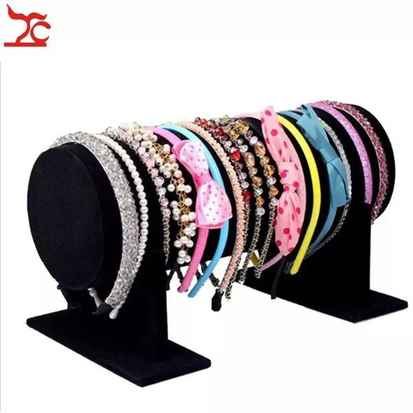 Wholesale Jewelry Display High Quality Velvet Hair Hoop Headband Display Stand Holder Velvet Bead Chain Glasses T-Bar Holder Stand