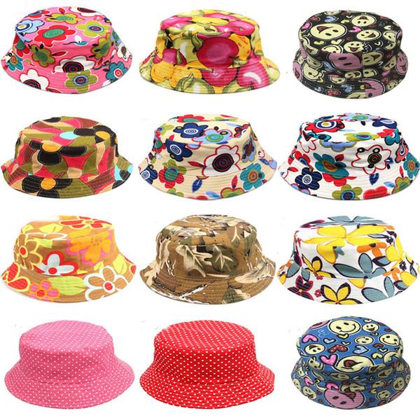 12 Colors Children's Flower Sun Basin Hat Wholesale Temperament Sun Leisure Boys Fish Hats Baby Beanie Caps Support FBA Drop Shipping G849F